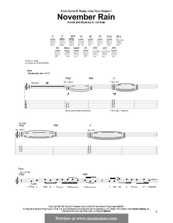 November Rain Guns N Roses By Wa Rose Sheet Music On Musicaneo