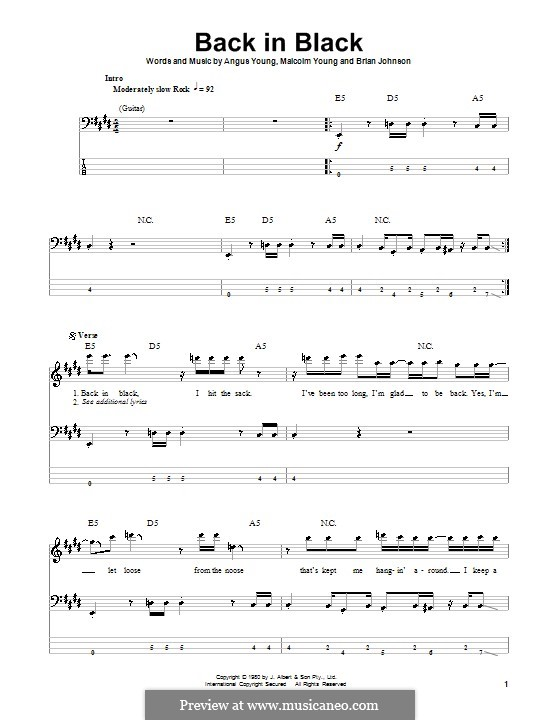 Back in Black (AC/DC): For bass guitar with tab by Angus Young, Brian Johnson, Malcolm Young