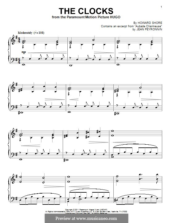 The Clocks (from Hugo): For piano by Howard Shore