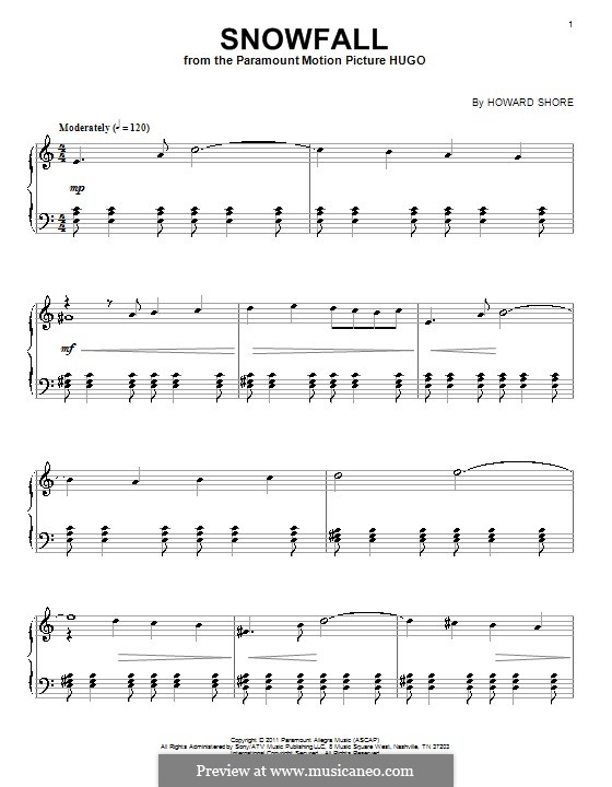 Snowfall: For piano by Howard Shore