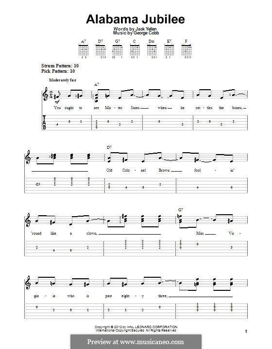 Alabama Jubilee: Guitar tablature (Arthur Collins and Byron Harlan) by George L. Cobb