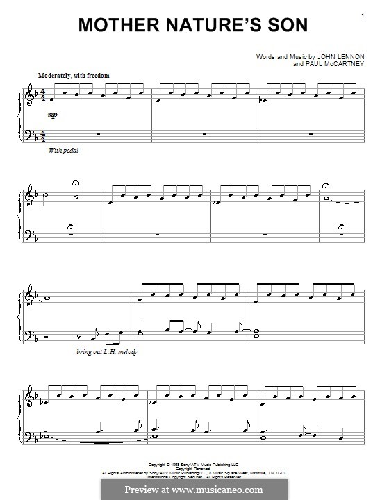 Mother Nature's Son (The Beatles): For piano by John Lennon, Paul McCartney