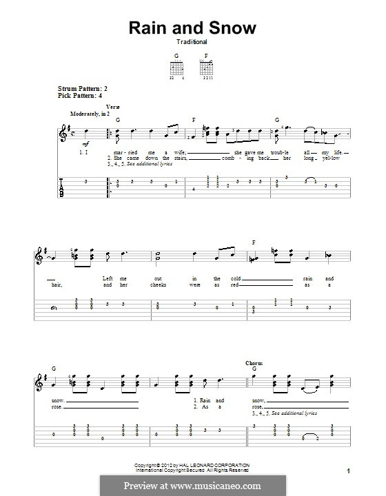 Rain and Snow: For guitar by folklore