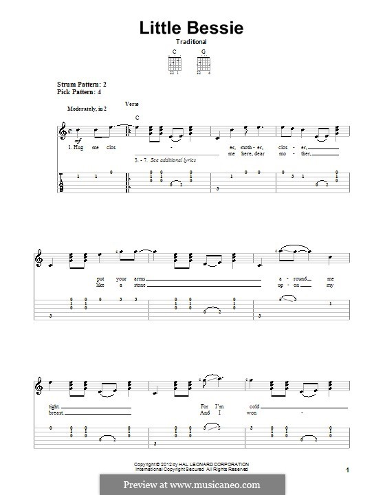 Little Bessie: For guitar by folklore