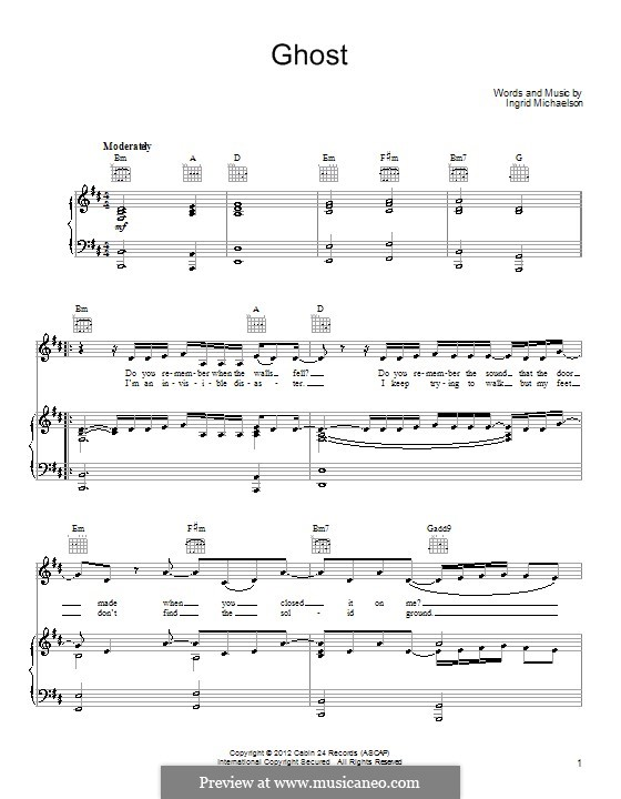 Ghost: For voice and piano (or guitar) by Ingrid Michaelson