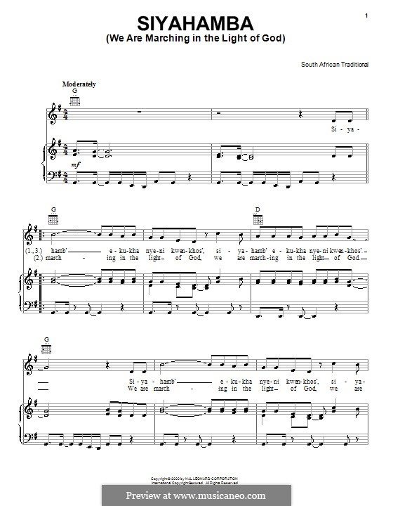 Siyahamba (We are Marching in the Light of God): For voice and piano (or guitar) by folklore