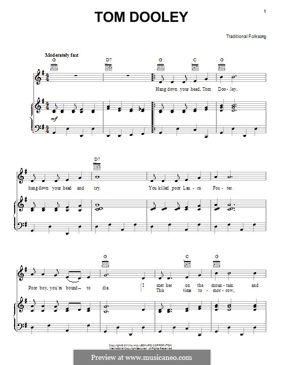 Tom Dooley By Folklore Sheet Music On Musicaneo