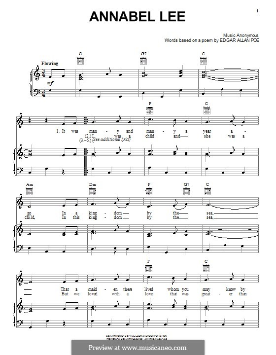 Annabel Lee: For voice and piano (or guitar) by folklore