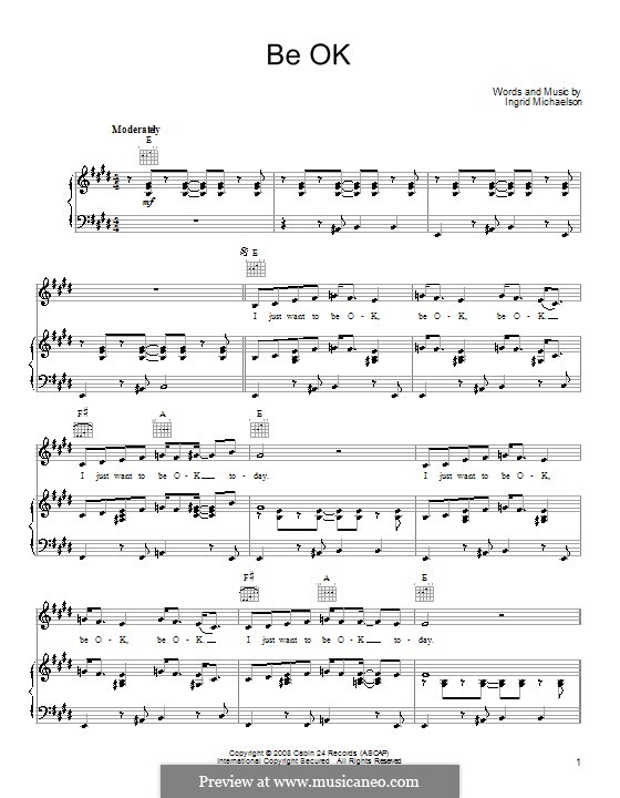 Be OK: For voice and piano (or guitar) by Ingrid Michaelson