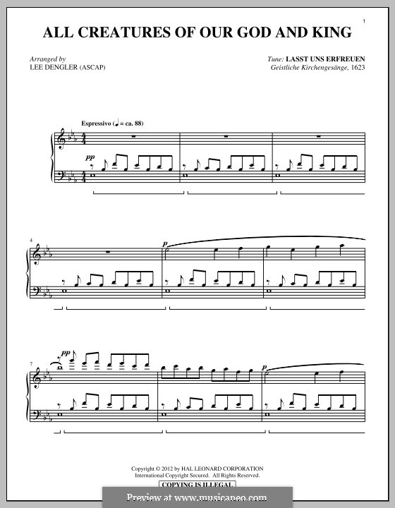 All Creatures of Our God and King: For piano by Unknown (works before 1850)