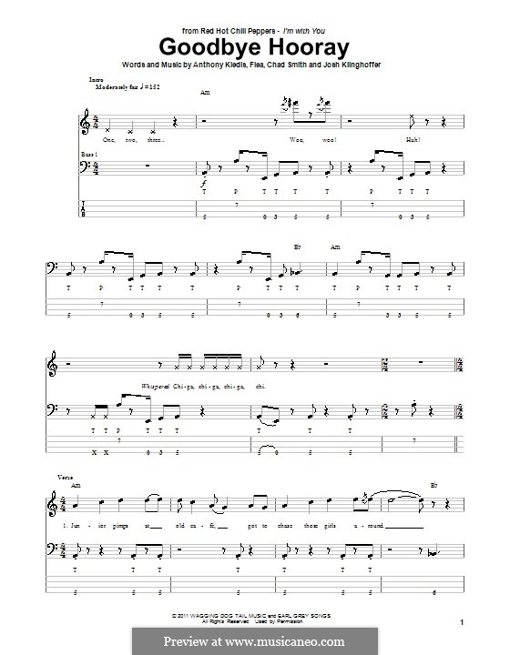 Goodbye Hooray (Red Hot Chili Peppers): For bass guitar by Flea, Anthony Kiedis, Chad Smith, Josh Klinghoffer