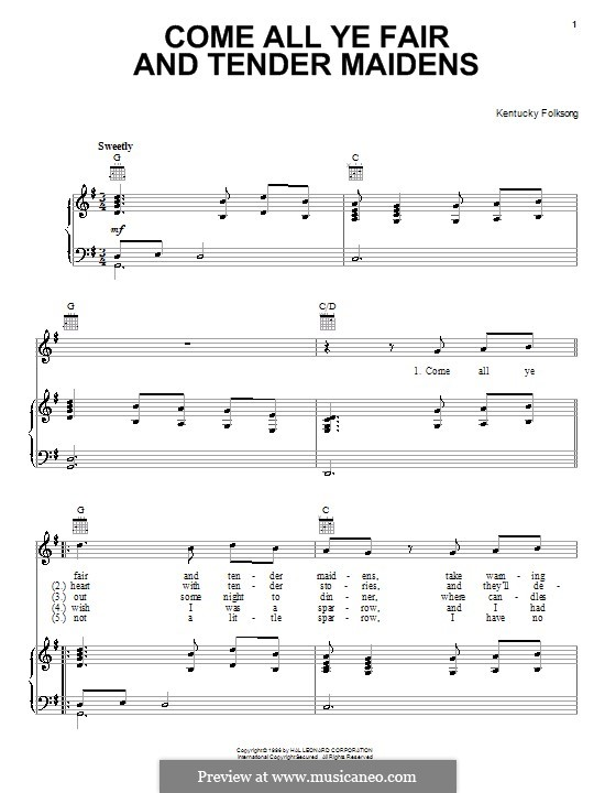 Come All Ye Fair and Tender Maidens: For voice and piano (or guitar) by folklore