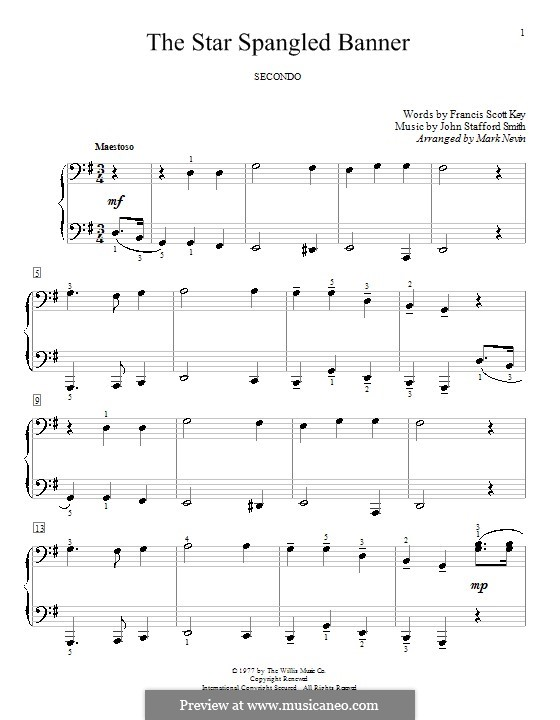 The Star Spangled Banner (National Anthem of The United States). Printable Scores: For piano four hands by John Stafford Smith