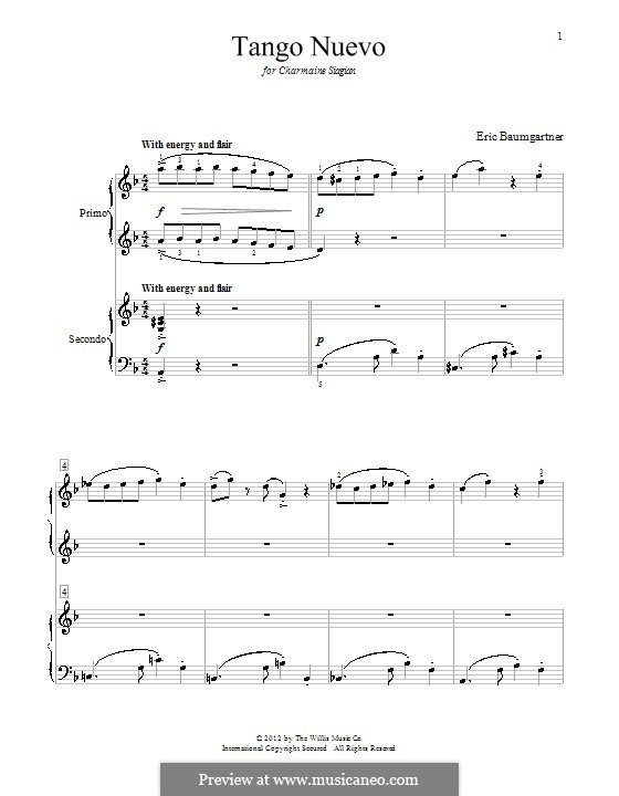 Tango Nuevo: For piano by Eric Baumgartner