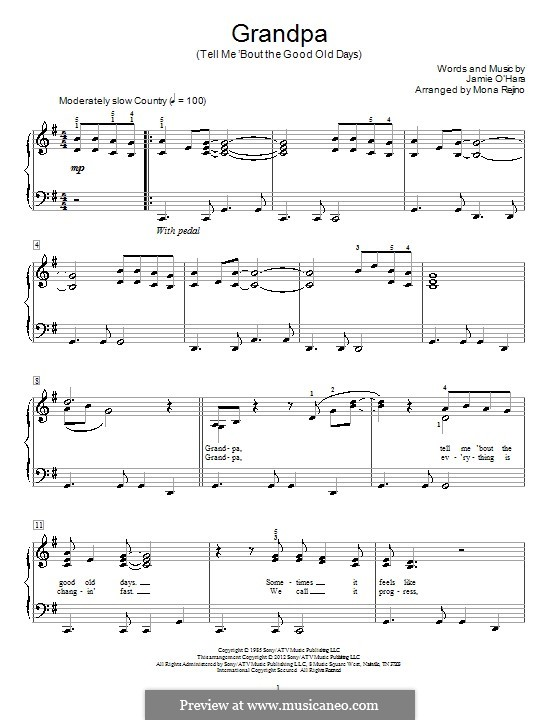 Grandpa / Tell Me 'Bout The Good Old Days (The Judds): For voice and piano by Jamie O'Hara