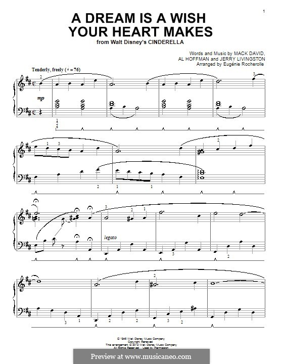 A Dream Is a Wish Your Heart Makes (from Disney's Cinderella): For piano (with fingering) by Al Hoffman, Jerry Livingston, Mack David