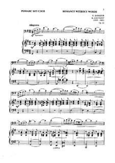 Romance without Words, Op.23: Score, solo part by Karl Julevich Davydov