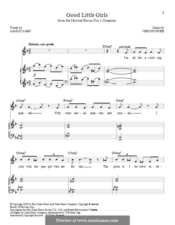 Good Little Girls: For voice and piano by Vernon Duke