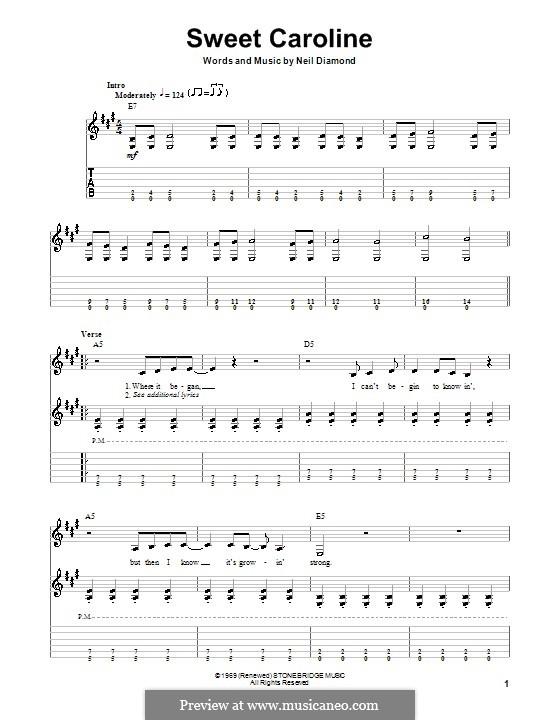 Sweet Caroline: For guitar (Glee Cast) by Neil Diamond
