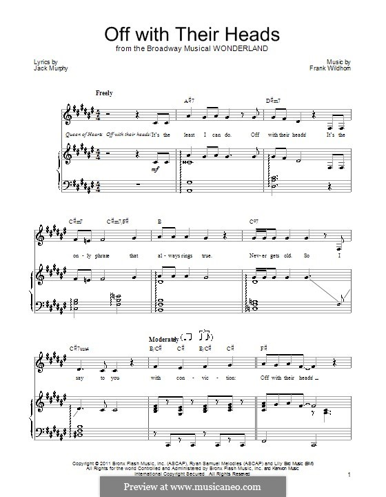 Off with Their Heads: For voice and piano (or guitar) by Frank Wildhorn