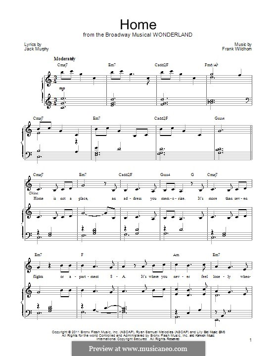 Home: For voice and piano (or guitar) by Frank Wildhorn
