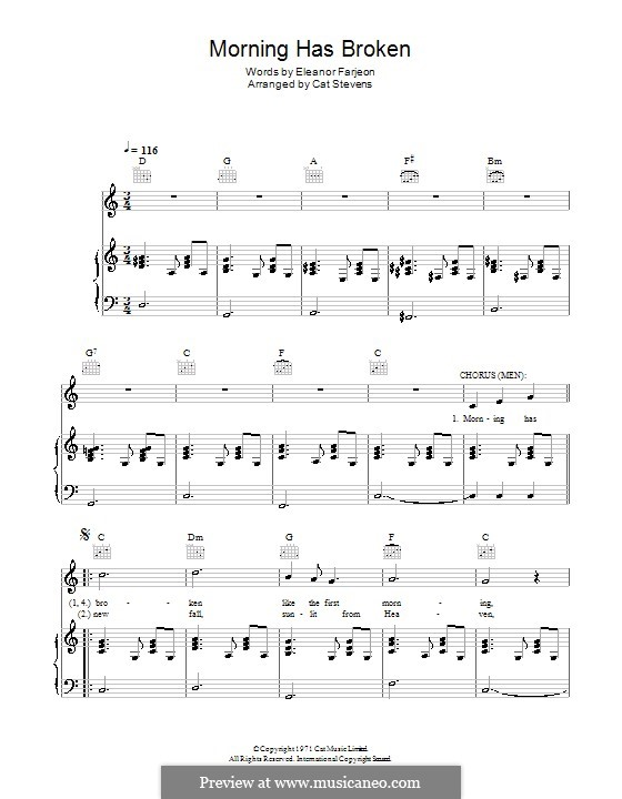 Morning Has Broken by C. Stevens - sheet music on MusicaNeo