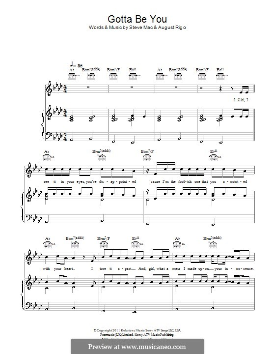 Gotta Be You (One Direction): For voice and piano (or guitar) by August Rigo, Steve Mac