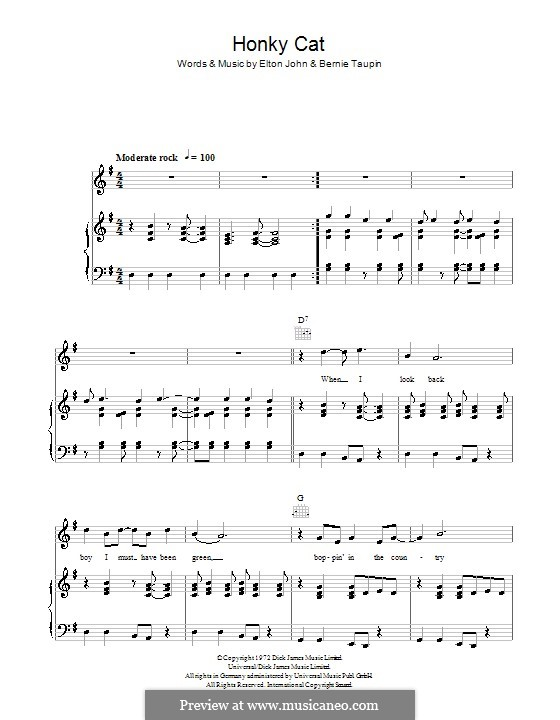 Honky Cat: For voice and piano (or guitar) by Elton John
