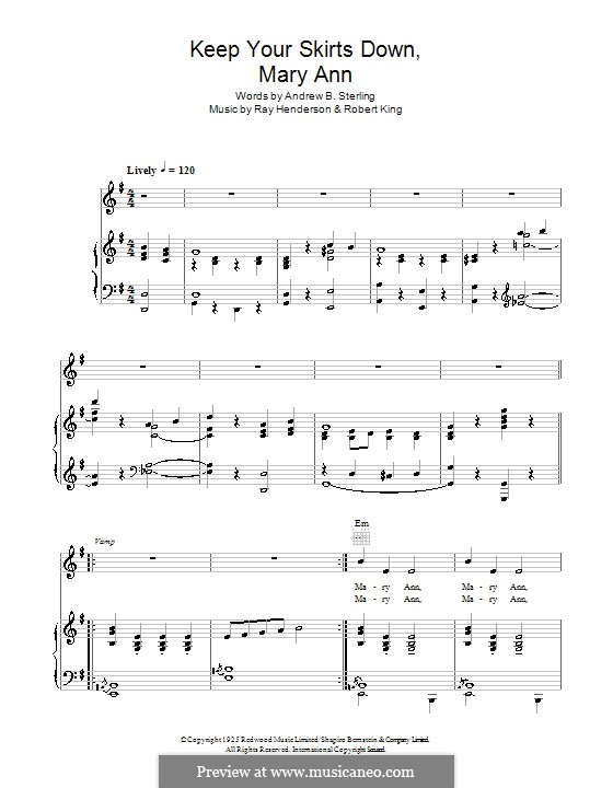 Keep Your Skirts Down Mary Anne (The Andrews Sisters): For voice and piano or guitar by Robert King, Ray Henderson