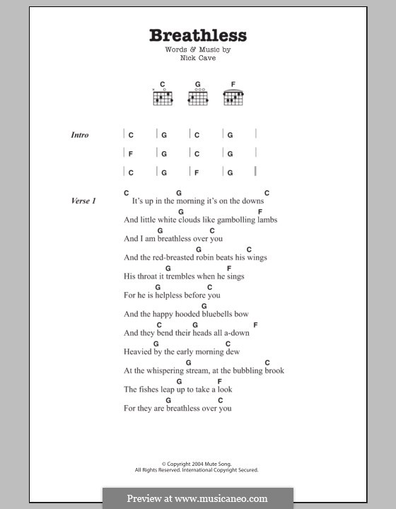 Breathless: Lyrics and chords by Nick Cave