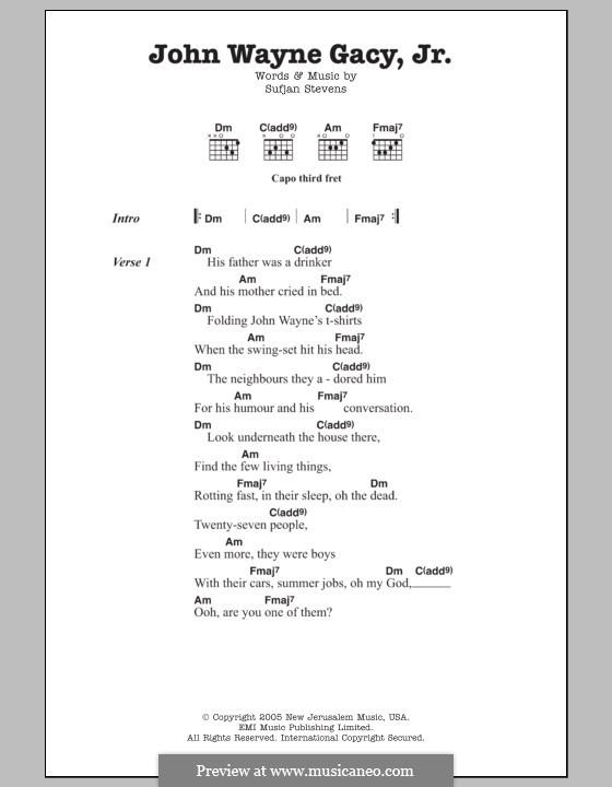 John Wayne Gacy, Jr.: Lyrics and chords by Sufjan Stevens