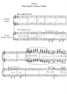 Two Dances for Harp and String Quintet, L.103: Version for two pianos four hands by Claude Debussy