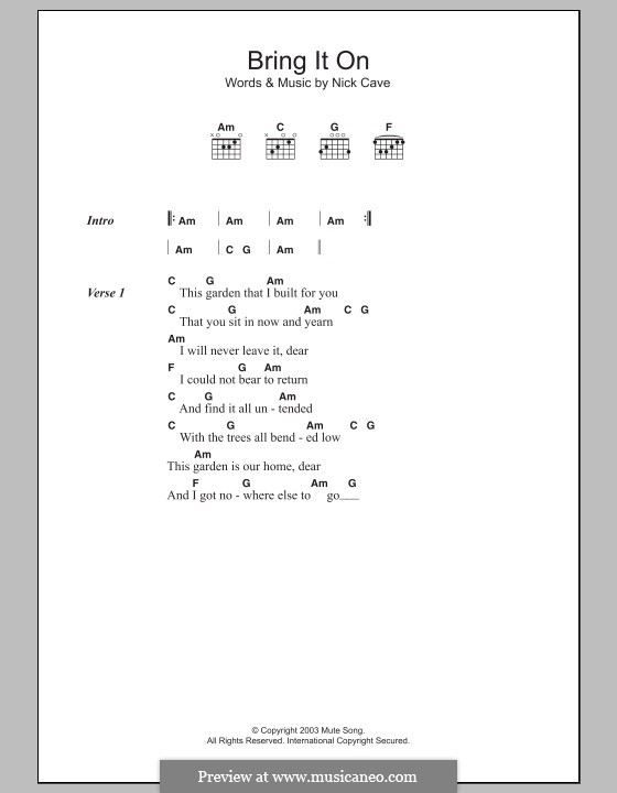 Bring It On By N Cave Sheet Music On Musicaneo