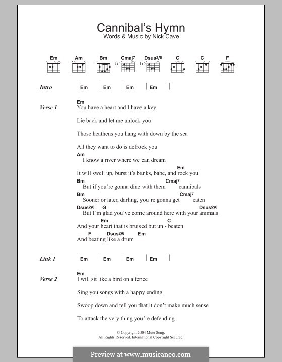 Cannibal's Hymn: Lyrics and chords by Nick Cave