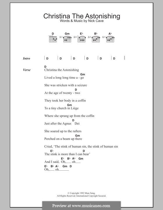 Christina the Astonishing: Lyrics and chords by Nick Cave