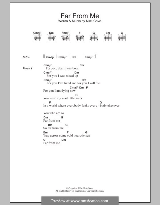 Far from Me (Nick Cave and The Bad Seeds): Lyrics and chords by Nick Cave