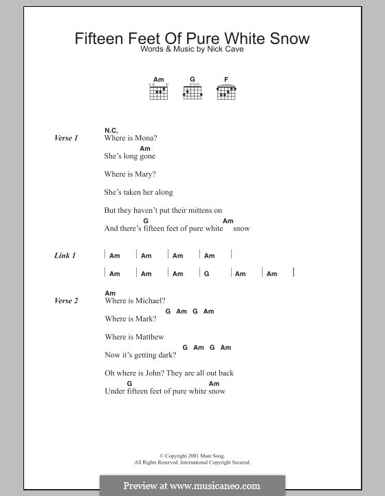 Fifteen Feet Of Pure White Snow By N Cave Sheet Music On Musicaneo