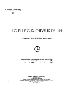 No.8 La fille aux cheveux de lin: For piano four hands by Claude Debussy