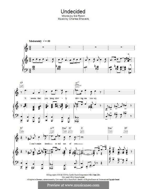Undecided (Ella Fitzgerald): For voice and piano (or guitar) by Charles Shavers