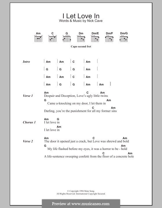 I Let Love in: Lyrics and chords by Nick Cave