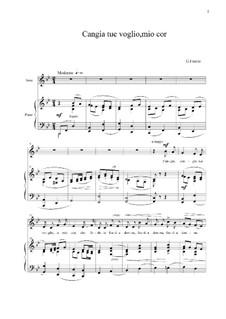 Cangia tue voglie, o mio cor: For mezzo-soprano and piano by Giovanni Fasolo