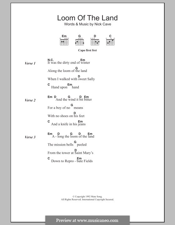 Loom of the Land: Lyrics and chords by Nick Cave
