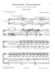 Rhapsody No.1 in G Flat Major, L.116: For piano by Claude Debussy