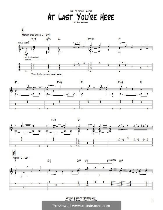 At Last You're Here: For guitar by Pat Metheny