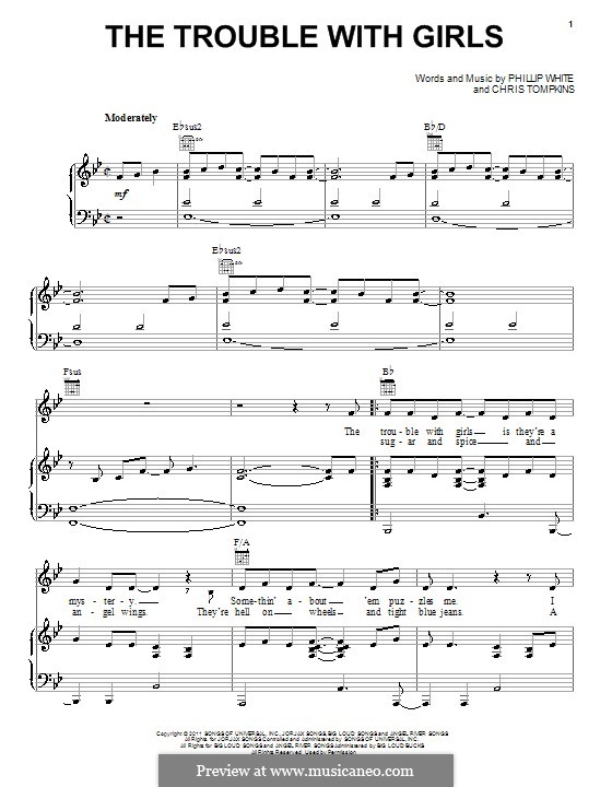The Trouble with Girls (Scotty McCreery): For voice and piano (or guitar) by Chris Tompkins, Phillip 'Whitey' White