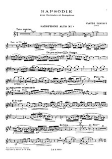 Rhapsody for Saxophone and Piano, L.98: Score, solo part by Claude Debussy