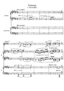 Printemps: No.1 Tres modéré, for Choir and Two Pianos Four Hands by Claude Debussy