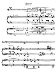 Printemps: No.2 Moderato, for Choir and Two Pianos Four Hands by Claude Debussy