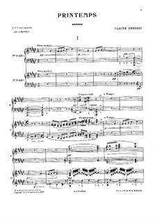Printemps: For two pianos four hands by Claude Debussy