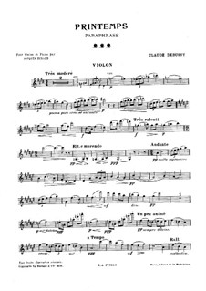 Printemps: Paraphrase, for Violin and Piano by Claude Debussy